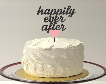 MADE In USA, Wedding Cake Topper Happily Ever After With Heart Color Choice Wedding Cake Topper Bride and Groom Wedding Topper