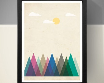 Abstract Art Poster - Mountains