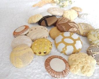 CLEARANCE - 21 gold yellow mix fabric covered buttons, mixed sizes