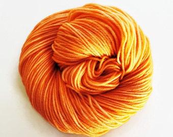 TANGERINE hand dyed yarn fingering sock dk bulky yarn super wash merino wool yarn single or ply. you choose your base. medium orange yarn