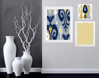 Ikat pattern with geometric pattern Collage Wall Art Gallery - Set of (3)  Custom color and sizes available - Mustard Yellow Grey and Navy