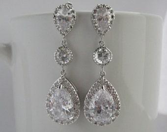 Clear Crystal Bridal Drop Earrings Wedding Cubic Zirconia Drop Earrings Wedding Teardrop Rhodium Earrings Clear Crystal Bridesmaid Jewelry