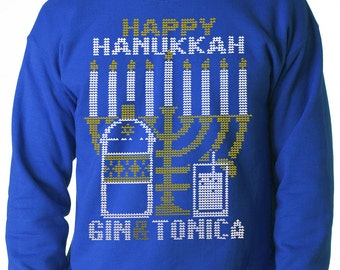Ugly Hanukkah Sweater, Gin and Tonica Golden Menorah