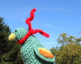 Autumn Bird with Red Scarf CROCHET PATTERN Amigurumi, folk art fall decoration toy, stash buster, woodland bird plush by TeaTimeYarnDesign