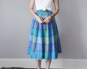 60s skirt / blue & lavender cotton pleated plaid (xs - s)