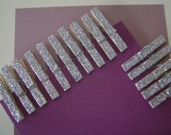 silver . petite . glitter clothespins - 15