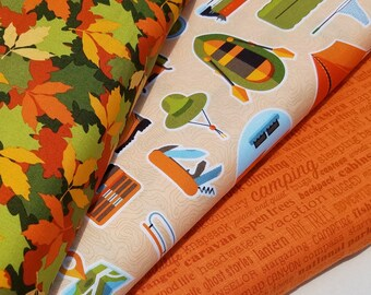 Camping Fabric, Let's Go Camping Cotton Fabric by Patrick Lose