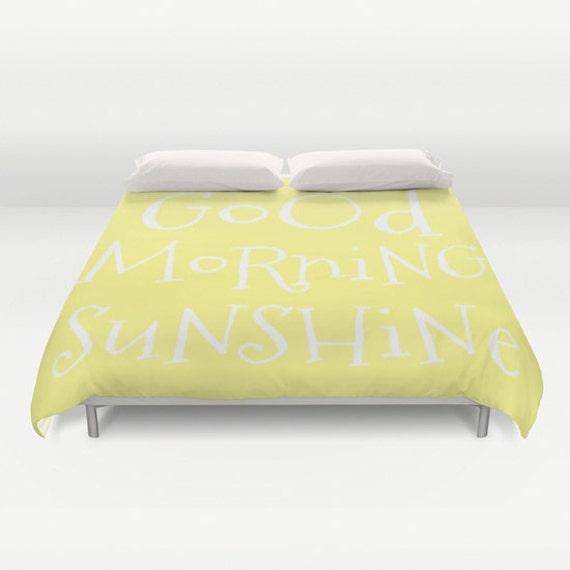Good Morning Sunshine Duvet Cover, Made to Order, Text Bubble Bedding, Lemon Yellow Decorative Bedding, Love Comforter Cover, Happy, Fresh
