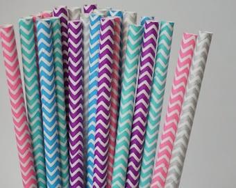 Chevron Party Straws, Baby Shower Decorations, Bridal Day Decor, Birthday Party Straws, 25 Pcs