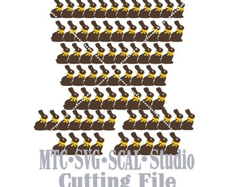 SVG Cut FileEaster Border Cut File Chocolate Bunny with Bow bundle of 9 MTC SCAL Cricut Silhouette Cutting Files