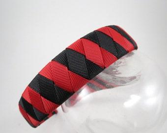 Red and Black Headband - Striped Headband - Red Headband - Black Headband - Ribbon Woven Headband - Braided Headband