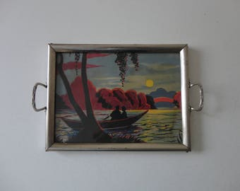 VINTAGE 1940s DECORATIVE picture TRAY - couple in canoe at sunset - as found