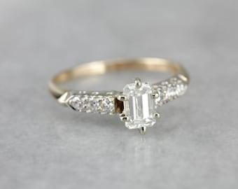 Vintage Diamond Engagement Ring, Emerald Cut Diamond, Estate Jewelry 9RW57N-N