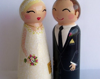 Hand Painted Love Boxes Custom Wedding Anniversary Cake Topper Peg Dolls Wood