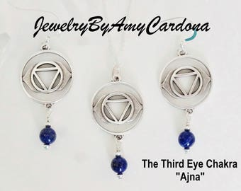 "THIRD EYE CHAKRA ""Ajna"" Lapis Lazuli Gemstone Sterling Silver Necklace / Earrings"