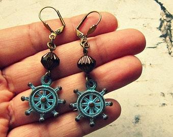 Ship Wheel Earrings, Ship Wheel Jewelry, Sailing Gifts, Nautical Earrings, Nautical Jewelry, Ship Wheel Gifts, Salvina's Treasures