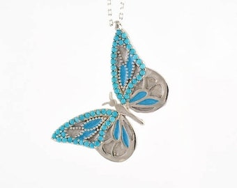 Memorial Day SALE Butterfly Necklace by Trianda - Elsa Collection - 925 Sterling Silver Turquoise Stones and Handmade Enamel