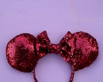 Burgundy Sequined Minnie Ears