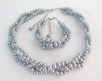 Gray Pearls Braided 3 strand Necklace and Bracelet,Wedding Jewelry,Bridesmaid Gift,Wedding Gift,Gray Pearls Party Jewelry, Free Shipping USA