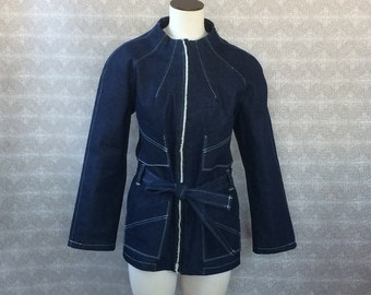 Womens Salvaged Denim Funnel Neck 4 pocket Belted Denim Jacket
