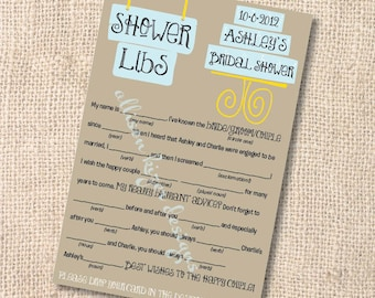Printable Bridal Shower Game - Customized Mad Libs Modern Cake