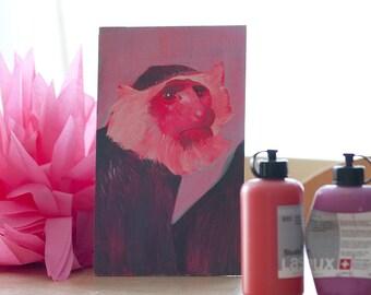 Sehr seriöser Affe in Pink 2, original Bild, Porträt auf Holz
