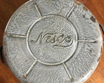 Vintage Nesco Gray Molted Enamel Ware Dish