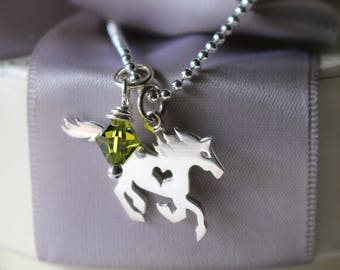 Sterling Horse with heart cut out necklace with crystal charm optional