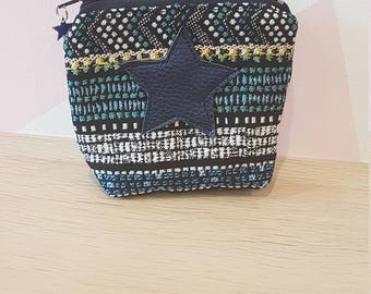 wallet blue jacquard
