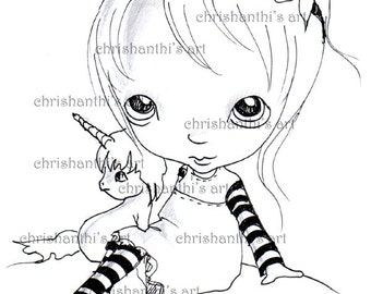 INSTANT DOWNLOAD Digital Digi Stamps..by Chrishanthi's art, Pigasus.