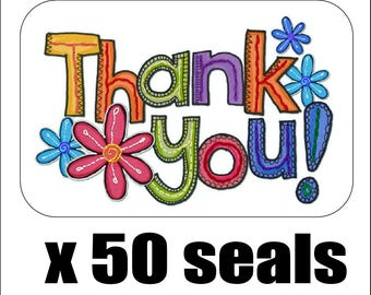 """50 Colorful Flowers Thank You! Envelope Seals / Labels / Stickers, 1"""" by 1.5"""""""