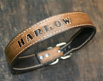 Personalized Leather Dog Collar | Custom Leather Dog Collar Personalized |  Dogs Name Collar | Pet Name Collar