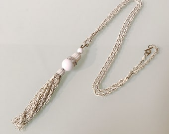 Vintage White Tassel 70's Necklace