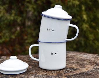 Couples mugs wedding gift his and hers mugs couples gift engagement gift coffee mug couples mug set anniversary gift camping gift enamel mug