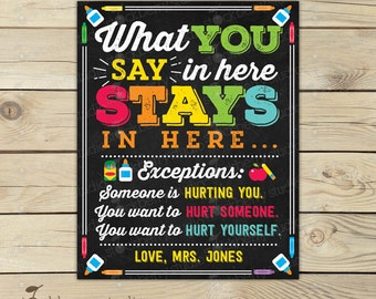 What You Say in Here Stays in Here Sign - School Counselor Decor - Therapist Office - Counselor Posters - Classroom Printables - Counseling