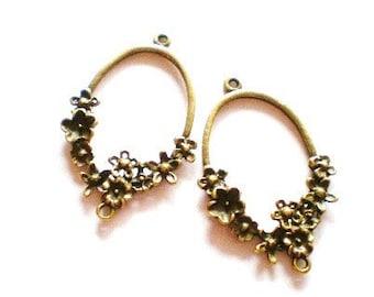 Earring hoops jewelry connectors 6 antique bronze earring dangles 42mm x 26mm x 4mm HP958Y (G1)
