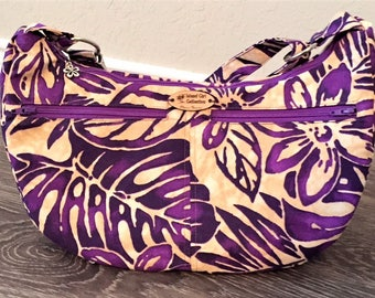 Hobo Bag, Handbag, Sling Bag, Slouchy Bag, Tropical Bag, Large Purse in Purple Petals Floral Print