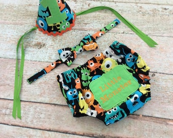 Baby Boy's Diaper Cover, Bow Tie, and Hat Set, Monsters, Cake Smash, Size 12M, Photo Prop, Ready to Ship