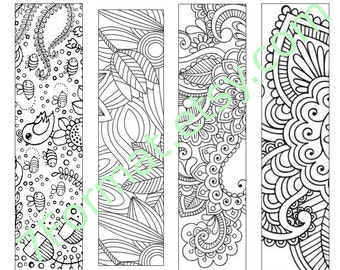Bookmarks Coloring Printable, Instant Download. 16.