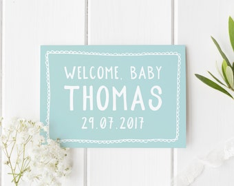Personalised New Baby Card, New Baby Card, New Arrival Card, Welcome Baby Boy, Congratulations New Baby Boy, Card For New Baby, Personalised