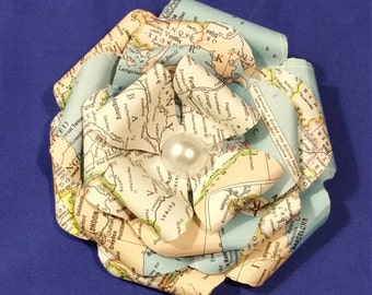 Map Paper Hair Clip Flower /corsage/boutonniere/bride/wedding/recycled/upcycled/book arts/Hair Ornament/Headpiece