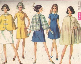 8097 Simplicity Sewing Pattern Reversible Cape Two Lengths Dress Size 10 Vintage 1960s