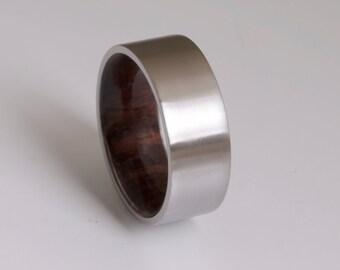 wood ring titanium band wedding ring woman wood man jewelry engagement ring wood wedding band ROSE WOOD