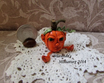 OoAk Dollhouse Miniature Pumpkin Man Miranda's Miniature