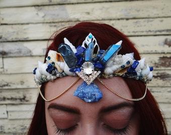 Blue Mermaid Crystal Crown, Mermaid Crown Blue Mystic Princess, mermaid crown, seashell crown, shell tiara, Mermaid Headdress, Mermaid Tiara