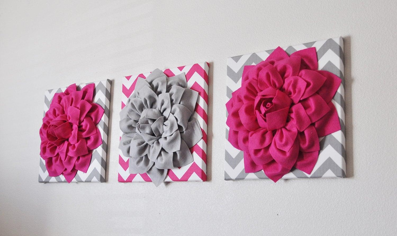 Custom nursery decor flower wall art hot pink and grey zoom amipublicfo Choice Image