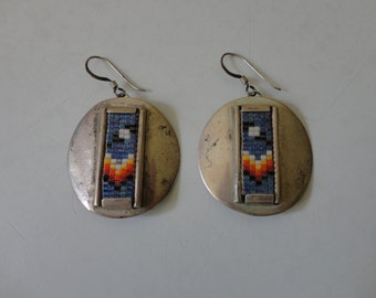 VINTAGE handmade sterling silver DROP EARRINGS with bead work