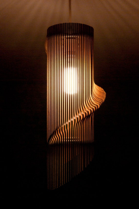 Twisted lasercut wooden lampshade no1 aloadofball Images