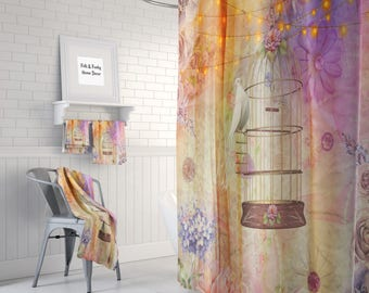 Boho Chic Gypsy Lights   Shower Curtain Optional Bath  Mat Bathroom
