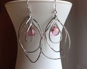 Pirouette Hoop Earrings, Pink Mystic Quartz, Silver,  curl earring, spiral earring, swirl earring